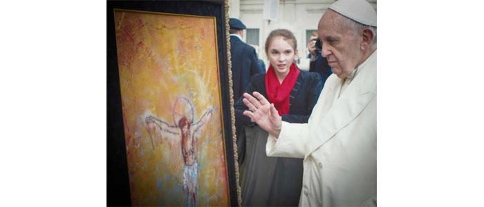 """Pope Francis blesses Autumn de Forest's painting """"Resurrection"""""""
